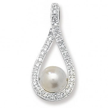 Sterling Silver Pearl & Cubic Zirconia Pendant On A Snake Necklace
