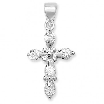 Children's Sterling Silver Fancy Cubic Zirconia Cross Pendant On A Curb Necklace