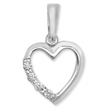 Children's Sterling Silver Cubic Zirconia Open Heart Pendant On A Curb Necklace