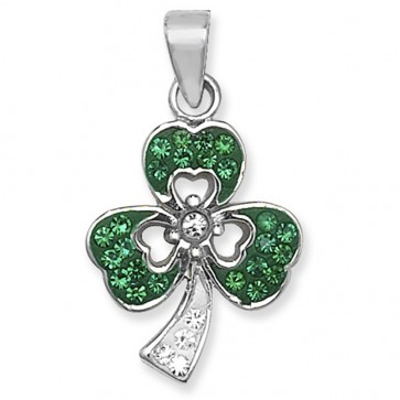 Children's Sterling Silver Green & Clear Crystal Shamrock Pendant On A Curb Necklace