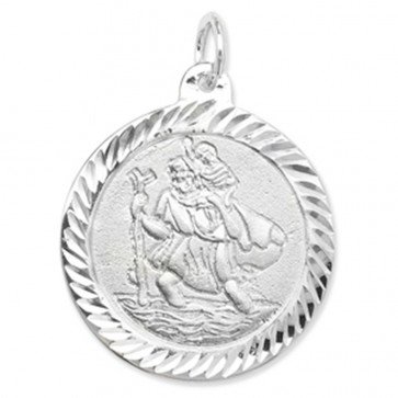 Men's Sterling Silver Round St Christopher Pendant On A Black Leather Cord Necklace