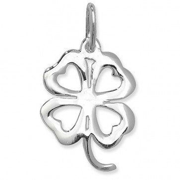 Children's Sterling Silver Plain Open Four Leaf Clover Pendant On A Curb Necklace