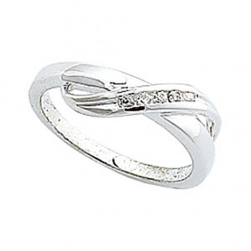 Sterling Silver Cubic Zirconia Overlap Ring