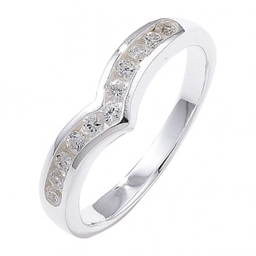 Sterling Silver Channel Set Wishbone Cubic Zirconia Ring