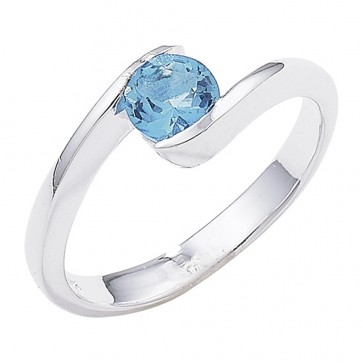 Sterling Silver Overlap Blue Topaz Ring