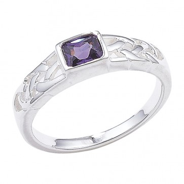Sterling Silver Amethyst Celtic Ring