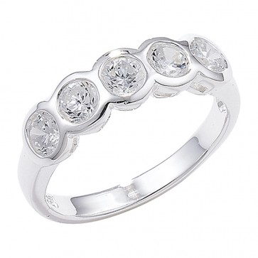 Sterling Silver Rubover Set Cubic Zirconia Ring