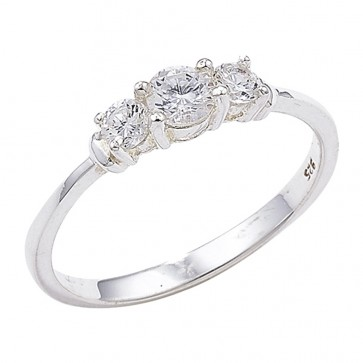 Sterling Silver 3 Cubic Zirconia Stone Ring