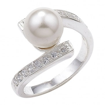 Sterling Silver Cubic Zirconia Ring With Pearl