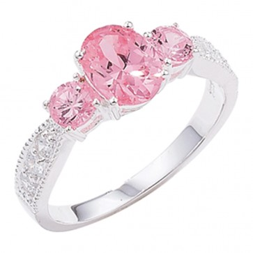 Sterling Silver Pink and White Cubic Zirconia Ring