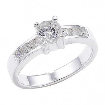 Sterling Silver Shoulder Set Cubic Zirconia Ring