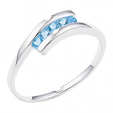 Sterling Silver Ring Set with 5 Blue Topaz Stones
