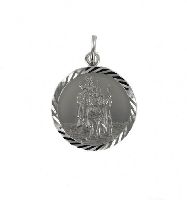Sterling Silver Medium Diamond Cut Round St Christopher Pendant On A Snake Necklace bxqTAk5t