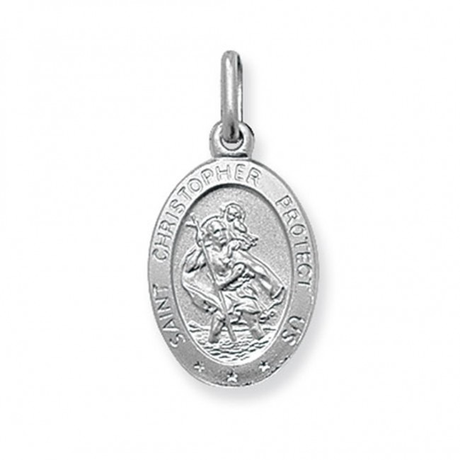 Buy sterling silver small solid oval st christopher pendant on a sterling silver small solid oval st christopher pendant on a snake necklace mozeypictures Gallery