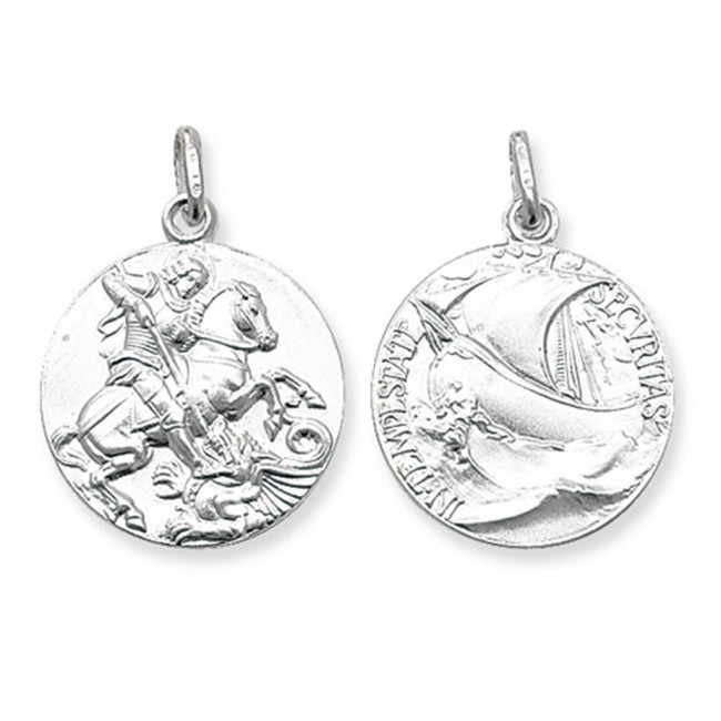 Buy sterling silver round double sided st george pendant on a snake sterling silver round double sided st george pendant on a snake necklace aloadofball Image collections