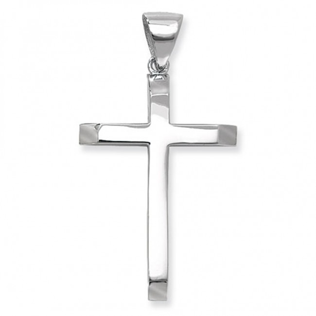 Mens Sterling Silver Plain Cross Pendant On A Black Leather Cord Necklace ZvyQn