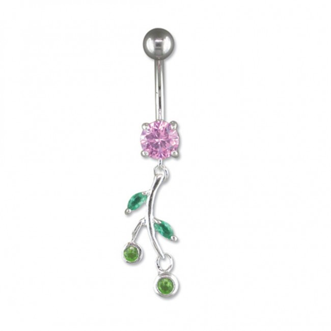 Buy Sterling Silver Pink Flower Belly Bar From Amandas Silver Boutique