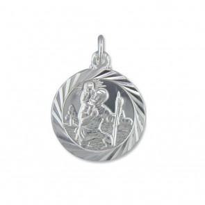 Sterling Silver Medium Double Sided Travel Design St Christopher Pendant