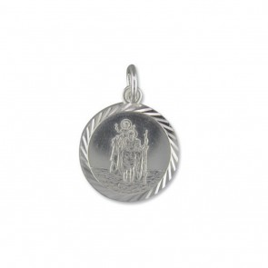 Sterling Silver Medium Diamond Cut Round St Christopher Pendant