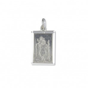 Sterling Silver Medium Diamond Cut Oblong St Christopher Pendant