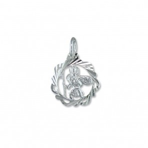 Sterling Silver Fancy Open Diamond Cut St Christopher Pendant