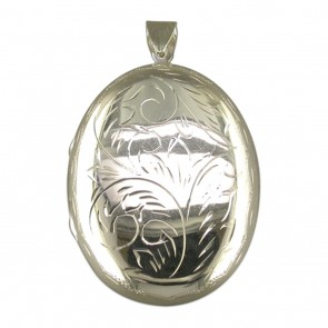 Sterling Silver Extra Large Engraved Flat Oval Locket On A Snake Necklace