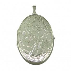 Sterling Silver Large Engraved Flat Oval Locket On A Snake Necklace