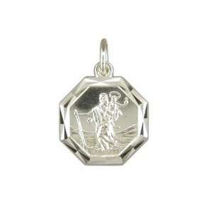 Sterling Silver Diamond Cut Octagonal St Christopher Pendant