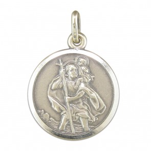 Sterling Silver Medium Antique Finish St Christopher Pendant