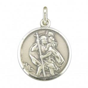 Sterling Silver Large Antique Finish St Christopher Pendant