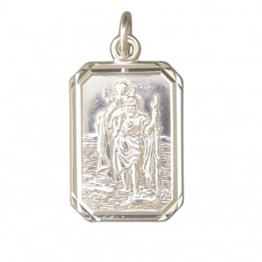 Sterling Silver Large Diamond Cut Oblong St Christopher Pendant
