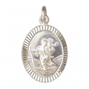 Sterling Silver Large Diamond Cut Oval St Christopher Pendant On A Snake Necklace
