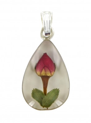 Children's Sterling Silver Real Red Rose Flower Teardrop Pendant On A Curb Necklace