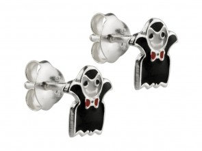 Sterling Silver Halloween Vampire Enamel Stud Earrings
