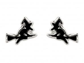 Sterling Silver Witch Enamel Stud Earrings