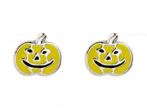 Sterling Silver Yellow Pumpkin Enamel Stud Earrings