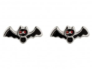 Sterling Silver Black Bat Enamel Stud Earrings