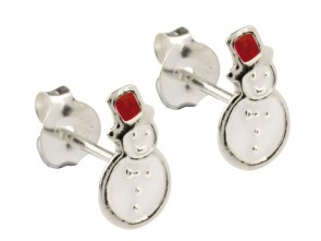 Sterling Silver Snowman Enamel Stud Earrings