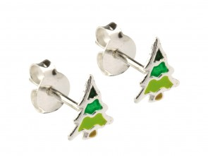 Sterling Silver Christmas Tree Enamel Stud Earrings