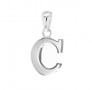 Men's Solid Sterling Silver Letter C Initial Pendant On A Black Leather Cord Necklace