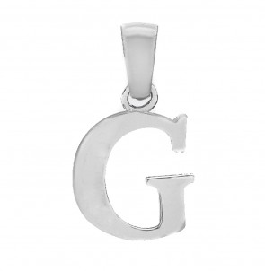 Men's Solid Sterling Silver Letter G Initial Pendant On A Black Leather Cord Necklace