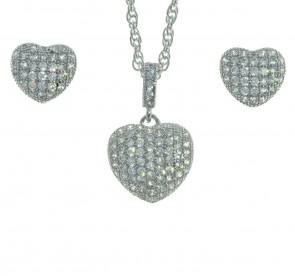 Sterling Silver Cubic Zirconia Heart Shape 20 Inch Necklace and Earring Set in a Red Heart Gift Box