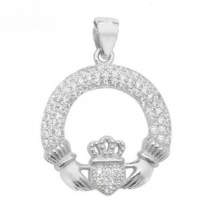 Sterling Silver Claddagh with Cubic Zirconia Pendant