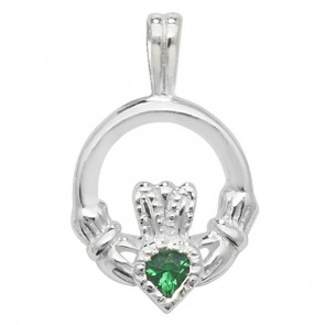 Sterling Silver Claddagh with Green Cubic Zirconia Pendant On A Snake Necklace