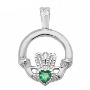 Sterling Silver Green Cubic Zirconia Claddagh Pendant On A Snake Necklace