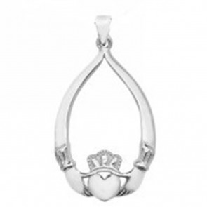 Sterling Silver Oval Cubic Zirconia Claddagh Pendant On A Snake Necklace