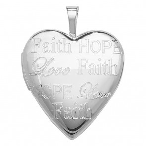 Sterling Silver Heart Hope Faith And Love Engraved Locket On A Snake Necklace