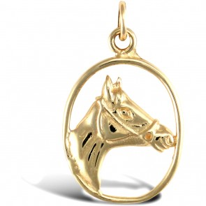 Men's 9ct Gold Solid Horse Head Pendant On A Curb Necklace