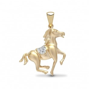 Men's 9ct 1pt Diamond Galloping Horse Pendant On A Curb Necklace