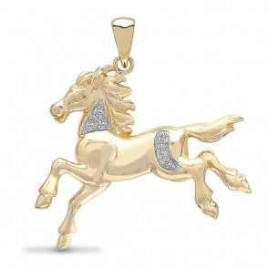 9ct 0.5ct Diamond  Horse Pendant On A Belcher Necklace